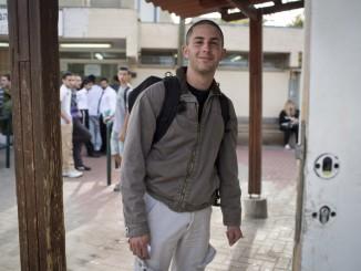 Natan Blanc walks into Tel Ha'Shomer military base near Tel Aviv, where he refused once again to serve in the Israeli army, 2.april 13